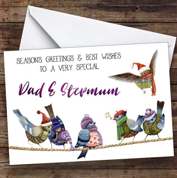 Cute Birds Very Special Dad & Stepmum Personalised Christmas Card