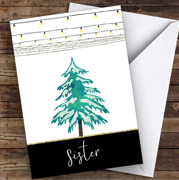 Sister Modern Christmas Lights & Tree Personalised Christmas Card