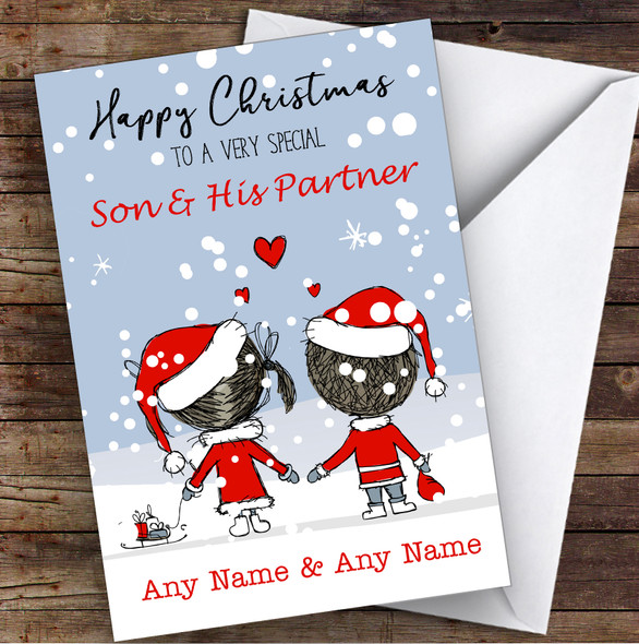 Snowy Scene Couple Son & His Partner Personalised Christmas Card