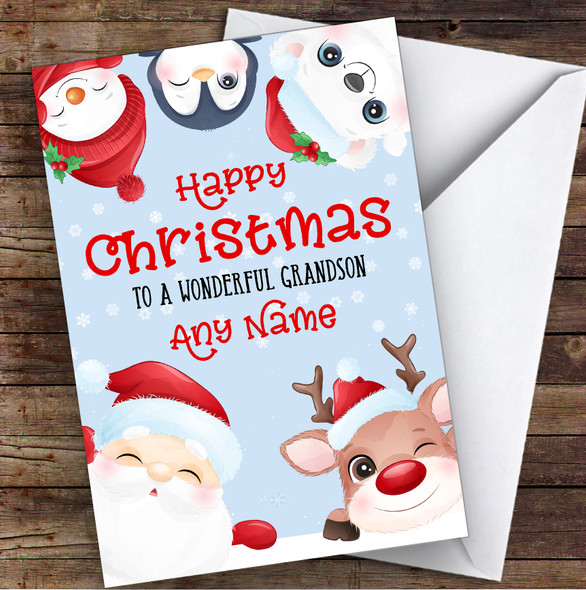 Cute Christmas Characters Grandson Personalised Christmas Card