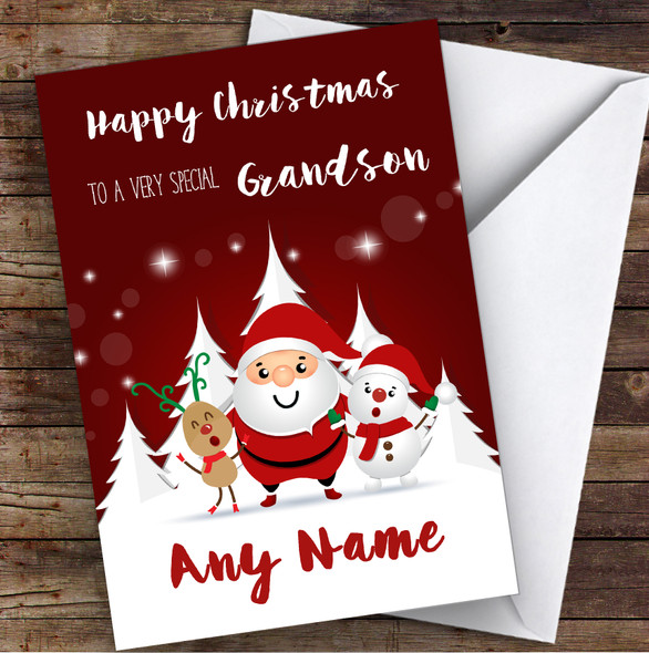 Red Santa Snowman Special Grandson Personalised Christmas Card