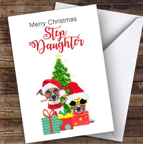 Step Daughter Christmas Party Dogs Personalised Christmas Card