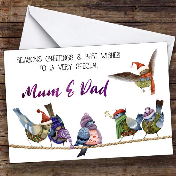 Cute Birds Very Special Mum & Dad Personalised Christmas Card