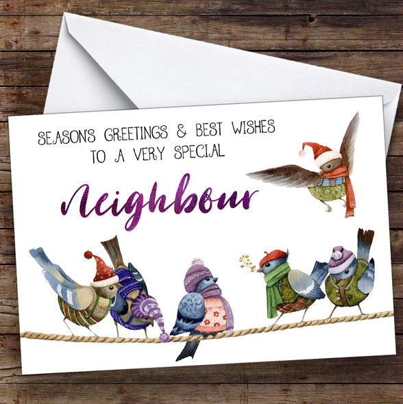 Cute Birds Very Special Neighbour Personalised Christmas Card