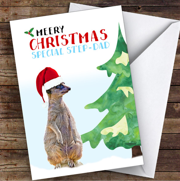 Special Step Dad Meery Christmas Personalised Christmas Card