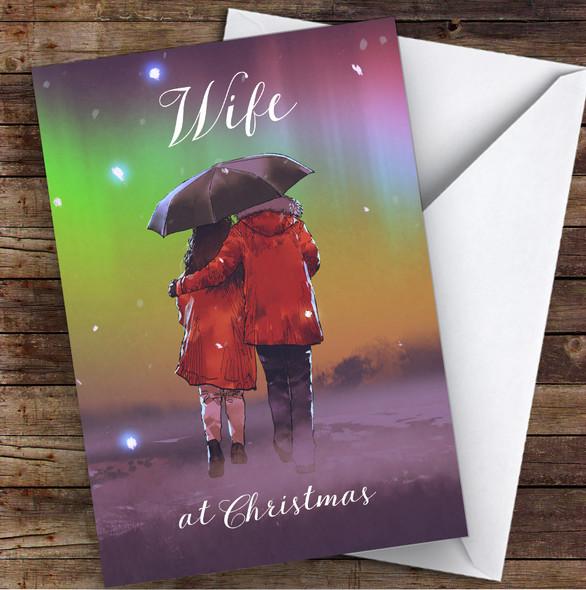 Wife Beautiful Couple Snow Scene Personalised Christmas Card