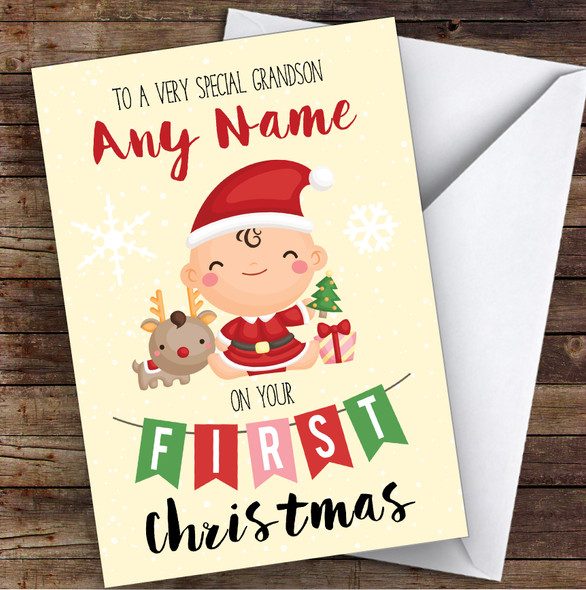 Baby's First Christmas Grandson Personalised Christmas Card