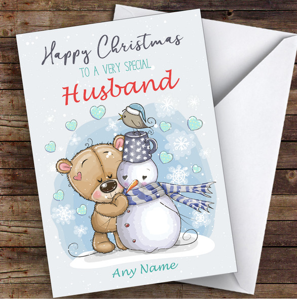 Bear & Snowman Romantic Husband Personalised Christmas Card