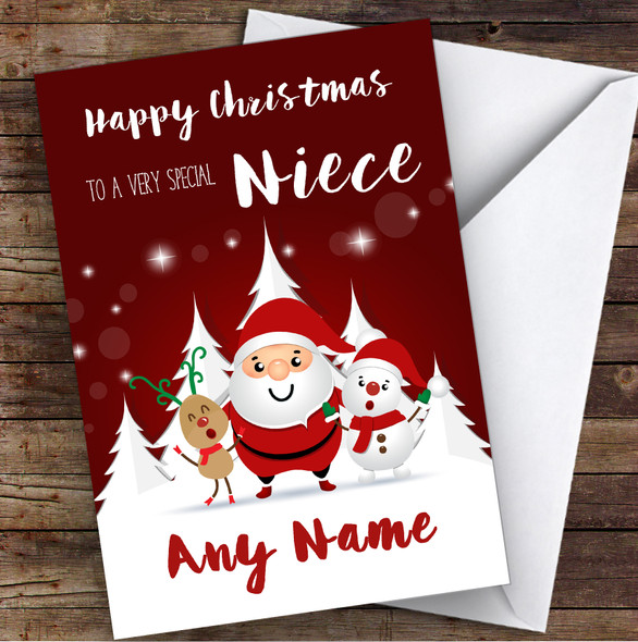 Red Santa Snowman Special Niece Personalised Christmas Card