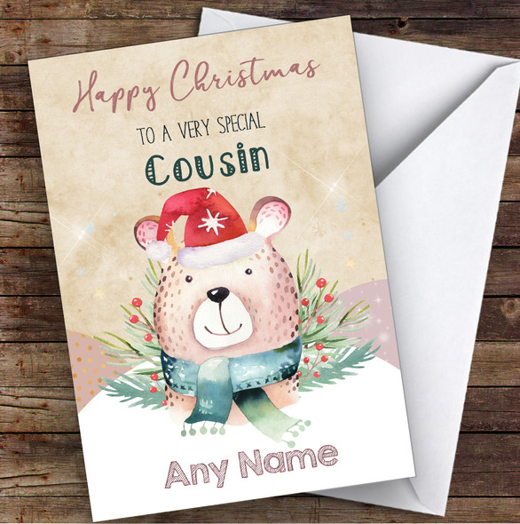 Watercolour Bear Special Cousin Personalised Christmas Card