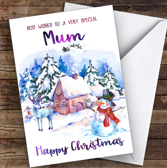 Watercolour Snowman Special Mum Personalised Christmas Card
