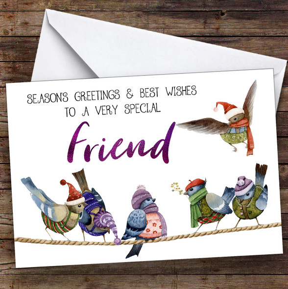 Cute Birds Very Special Friend Personalised Christmas Card