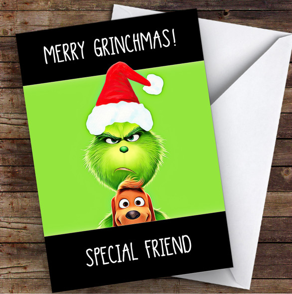 Special Friend Merry Grinchmas Personalised Christmas Card