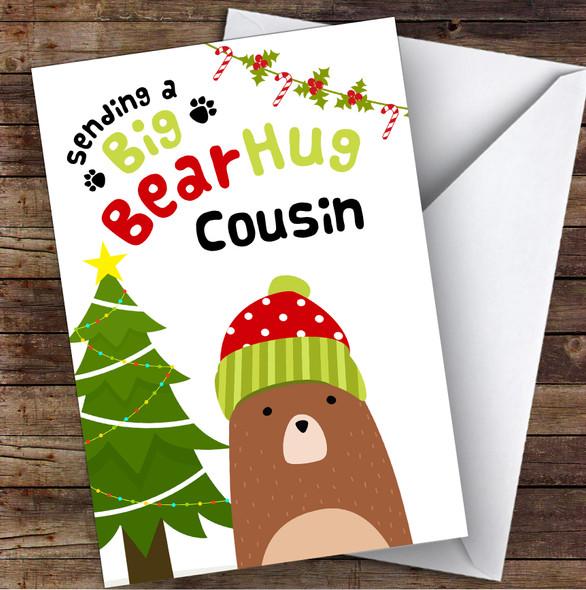 Cousin Sending A Big Bear Hug Personalised Christmas Card