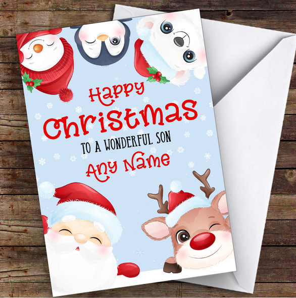 Cute Christmas Characters Son Personalised Christmas Card