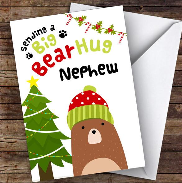 Nephew Sending A Big Bear Hug Personalised Christmas Card
