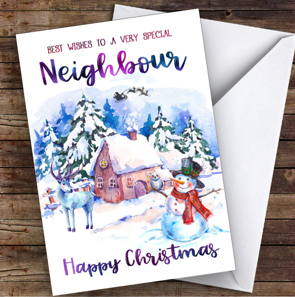 Watercolour Snowman Neighbour Personalised Christmas Card