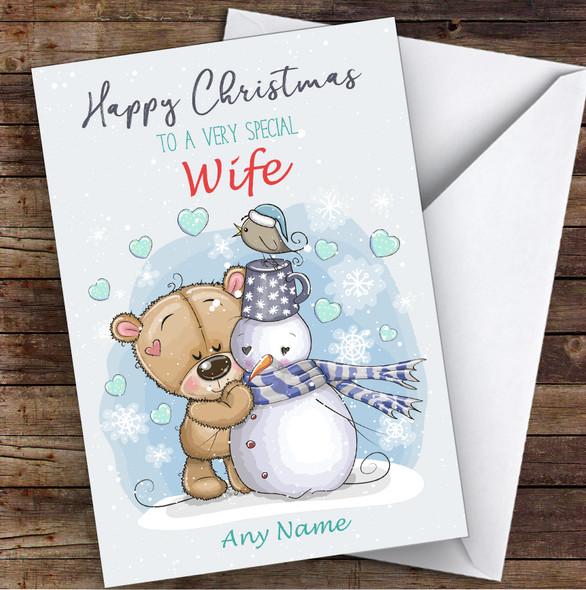 Bear & Snowman Romantic Wife Personalised Christmas Card