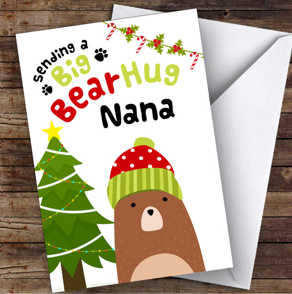 Nana Sending A Big Bear Hug Personalised Christmas Card
