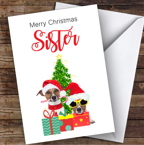 Sister Christmas Party Dogs Personalised Christmas Card