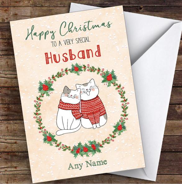 Cute Cats Romantic Husband Personalised Christmas Card