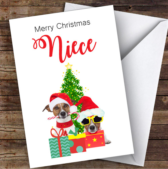 Niece Christmas Party Dogs Personalised Christmas Card