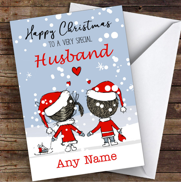 Snowy Scene Couple Husband Personalised Christmas Card