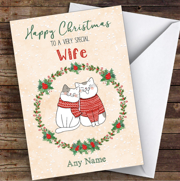 Cute Cats Romantic Wife Personalised Christmas Card