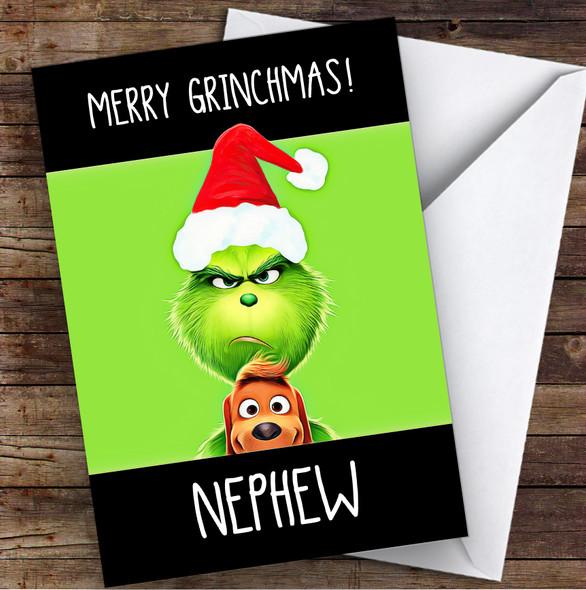 Nephew Merry Grinchmas Personalised Christmas Card