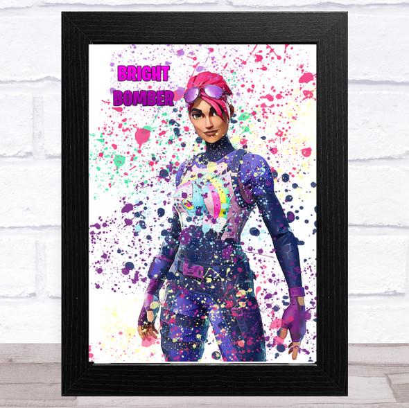 Splatter Art Gaming Fortnite Bright Bomber Kid's Room Children's Wall Art Print