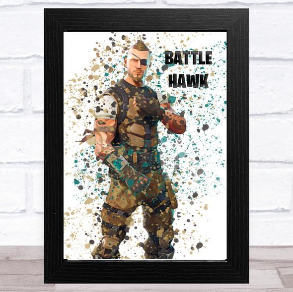 Splatter Art Gaming Fortnite Battle Hawk Kid's Room Children's Wall Art Print