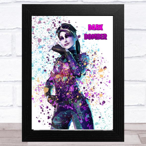 Splatter Art Gaming Fortnite Dark Bomber Kid's Room Children's Wall Art Print