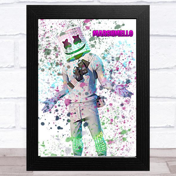 Splatter Art Gaming Fortnite Marshmello Kid's Room Children's Wall Art Print