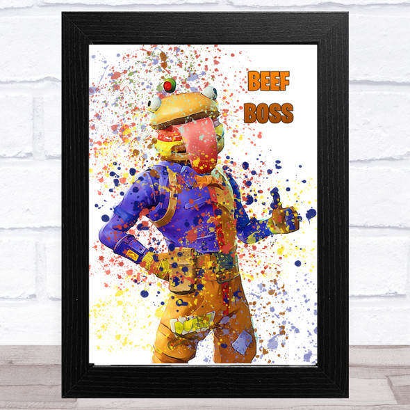 Splatter Art Gaming Fortnite Beef Boss Kid's Room Children's Wall Art Print
