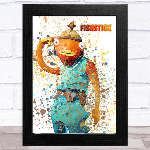 Splatter Art Gaming Fortnite Fishstick Kid's Room Children's Wall Art Print