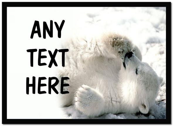 Polar Bear Cub Personalised Computer Mousemat