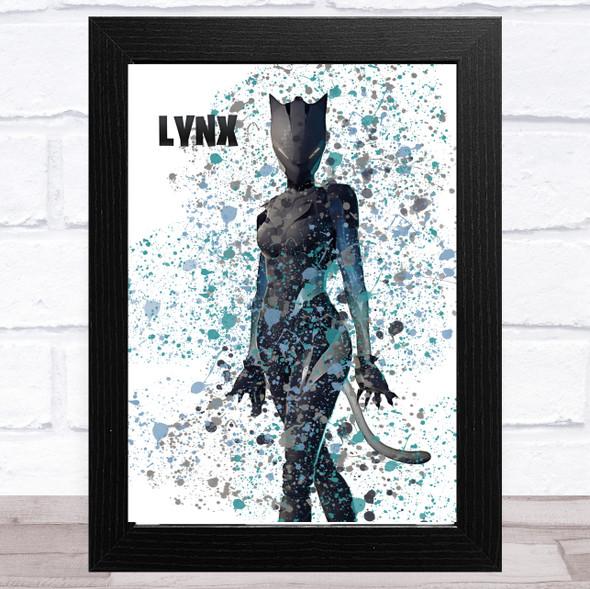 Splatter Art Gaming Fortnite Lynx Kid's Room Children's Wall Art Print