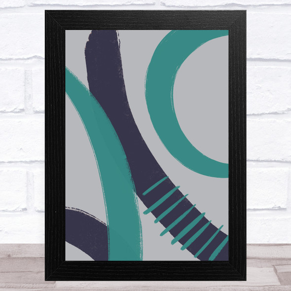 Navy Blue Turquoise And Grey Abstract Strokes Design 4 Wall Art Print