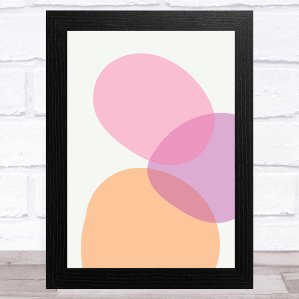 Orange Lilac And Pink Circles Abstract Style 1 Wall Art Print