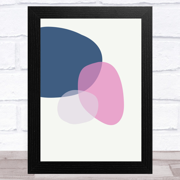 Navy Blue And Pink Circles Abstract Style 3 Wall Art Print