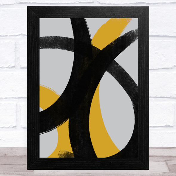 Black Grey Yellow Abstract Strokes Style 1 Wall Art Print