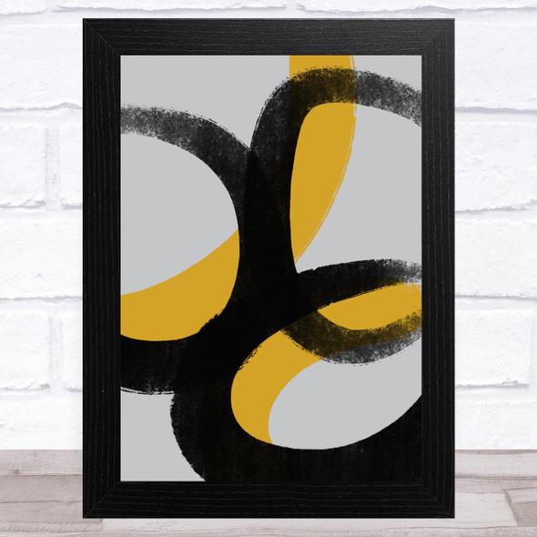 Black Grey Yellow Abstract Strokes Style 2 Wall Art Print