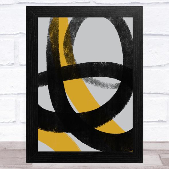 Black Grey Yellow Abstract Strokes Style 3 Wall Art Print