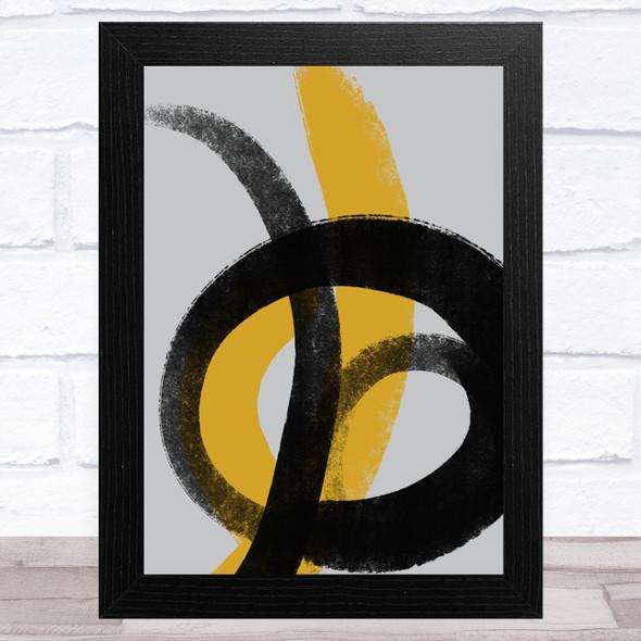 Black Grey Yellow Abstract Strokes Style 4 Wall Art Print