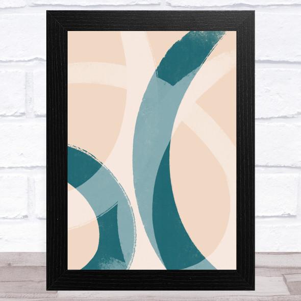 Dark Teal & Peach Abstract Strokes Style 1 Wall Art Print
