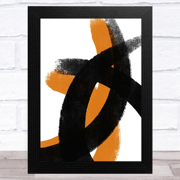 Black And Orange Abstract Strokes Style 1 Wall Art Print