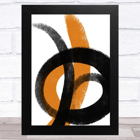 Black And Orange Abstract Strokes Style 2 Wall Art Print