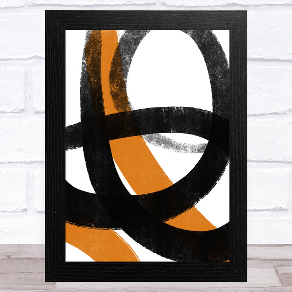 Black And Orange Abstract Strokes Style 3 Wall Art Print