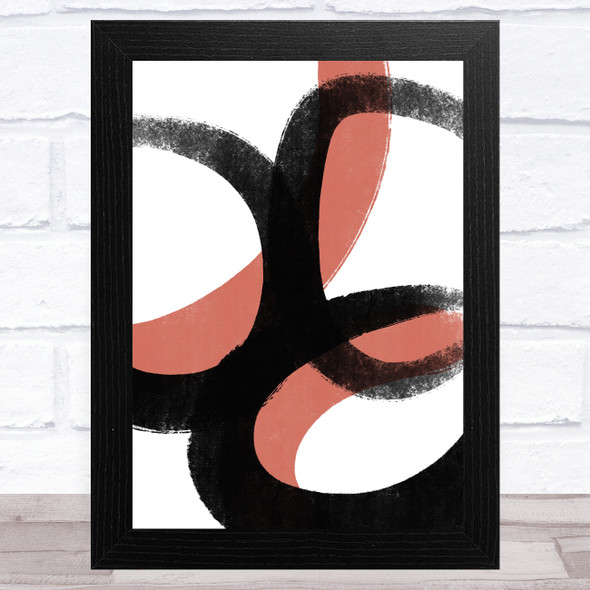 Black And Red Abstract Strokes Style 1 Wall Art Print