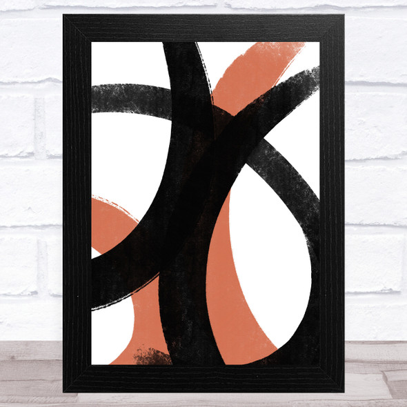 Black And Red Abstract Strokes Style 2 Wall Art Print